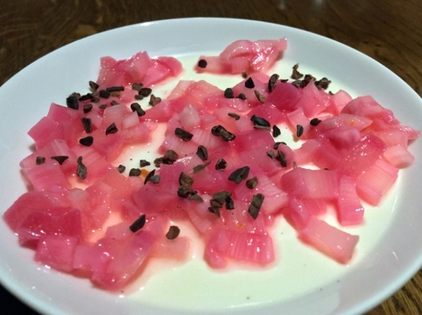 vanilla panna cotta with rhubarb and cocoa nibs at osteria barbican