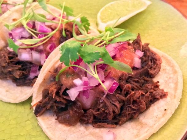 beef tacos at santo remedio