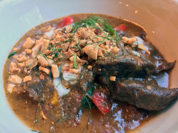 beef cheek panang curry at som saa commercial street
