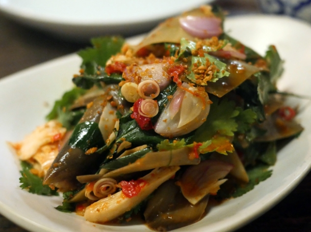 chicken and banana flower salad at som saa