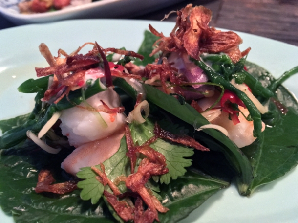 prawn and samphire salad with crispy shallots on betel leaf at som saa