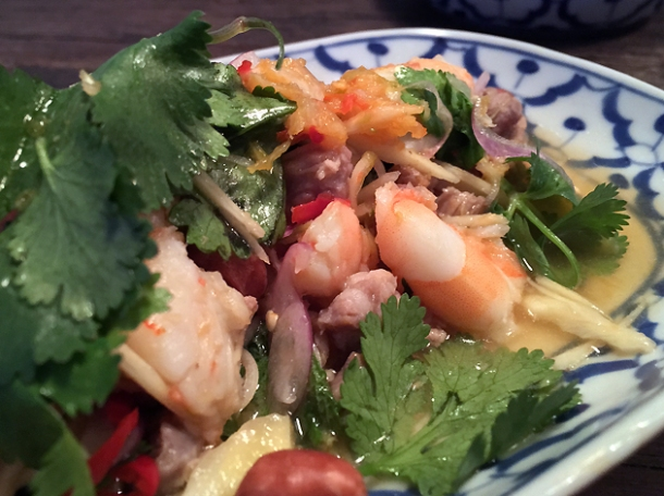 prawn, pork and white turmeric salad at som saa spitalfields