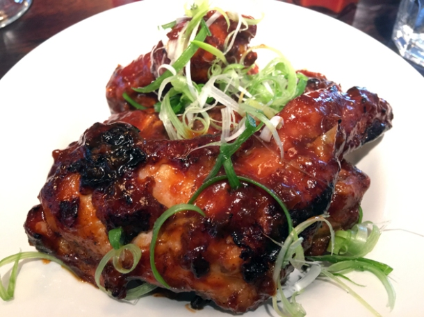 smoked chicken wings at bukowski grill soho