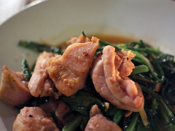stir fried chicken with chrysanthemum leaves at som saa spitalfields