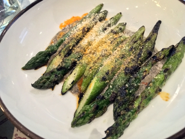 asparagus with black tahini at the barbary
