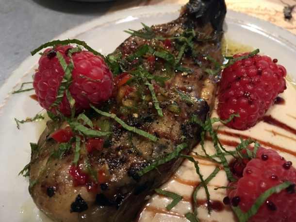 aubergine with raspberries at the barbary
