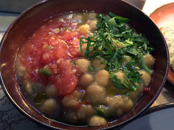 chickpeas and tomatoes at the barbary