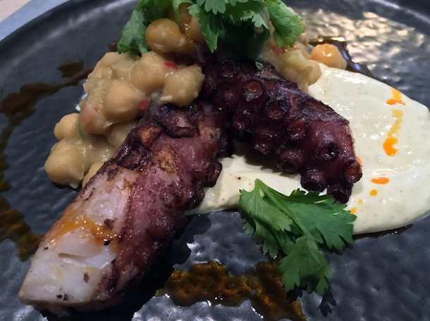 octopus and chickpeas at the barbary