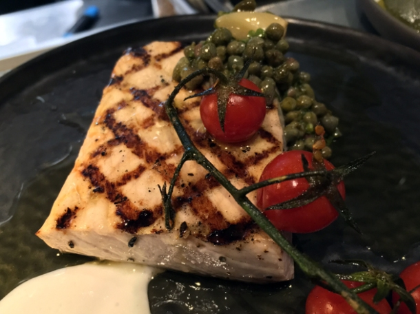 swordfish with capers and tomatoes at the barbary