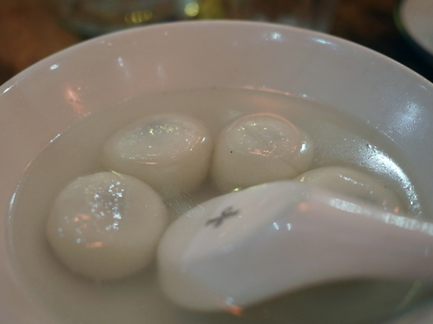 black sesame pudding balls in syrup at the sichuan