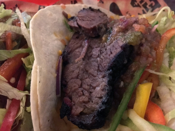 brisket tacos at texas joe's smoked meats