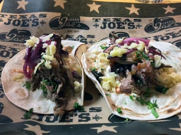mutton tacos at texas joe's smoked meats