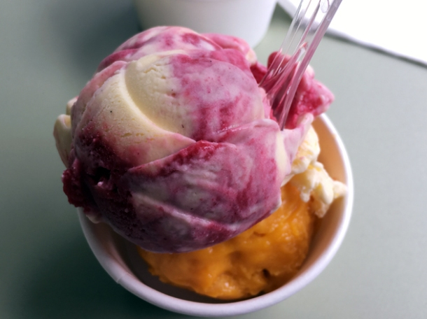 raspberry ripple gelato and mango sorbet at brumus