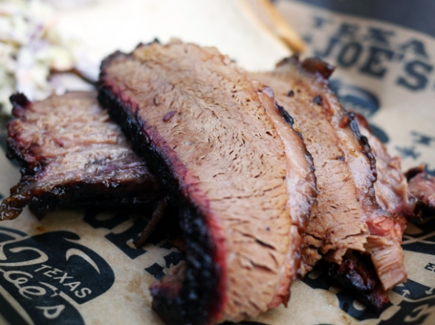 smoked beef brisket at texas joe's smoked meats