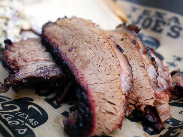 smoked beef brisket at texas joe's smoked meats