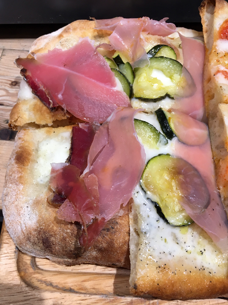 speck and courgette pizza at ice and slice