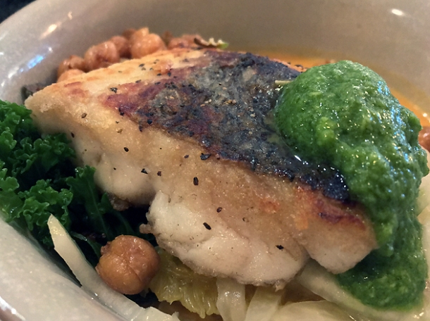 hake and chickpeas at foley's fitzrovia