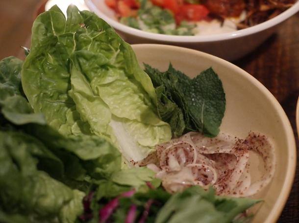 lamb shwarma lettuce wrap at berber and q shawarma bar