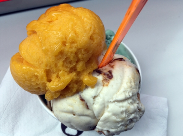 mango sorbet and creme brulee gelato from wafflemeister westfield stratford