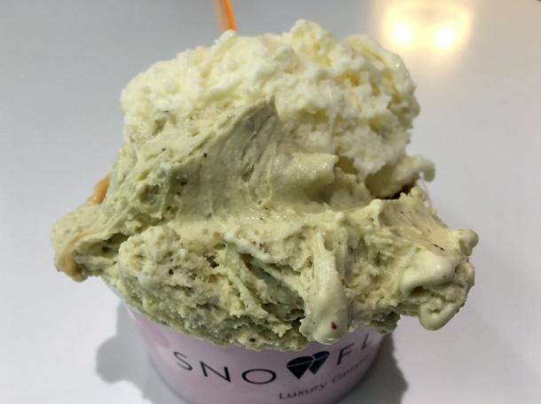 pistachio gelato at snowflake