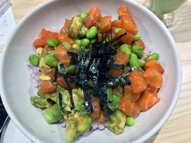 salmon and avocado poke at tombo soho