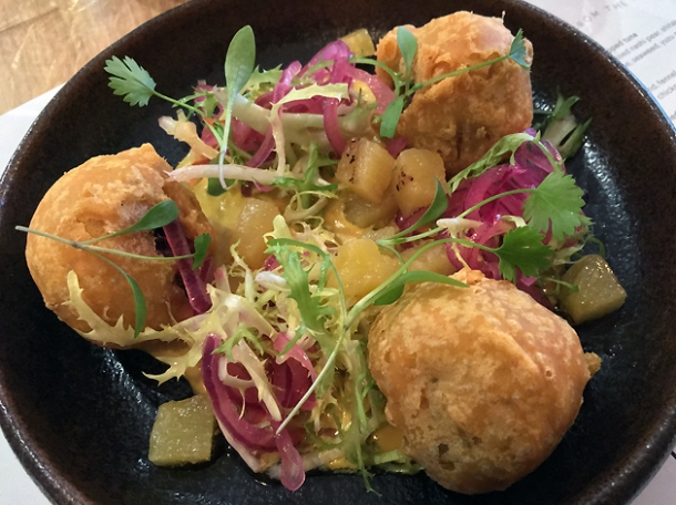 spiced sweet potato fritters at foley's fitzrovia