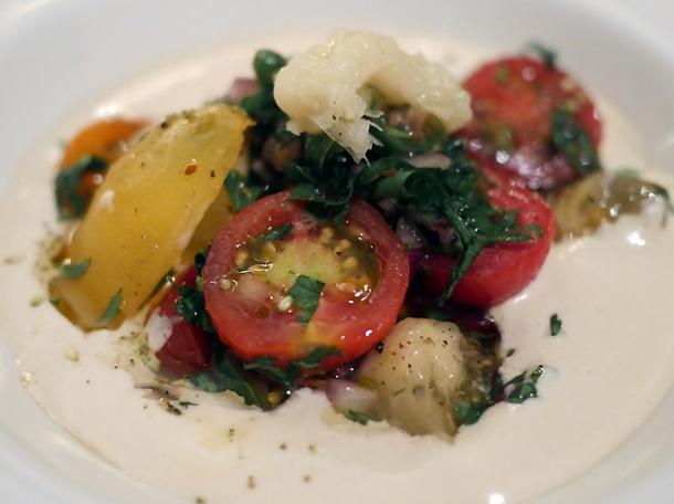 tomatoes and tahini side dish at berber and q shawarma bar