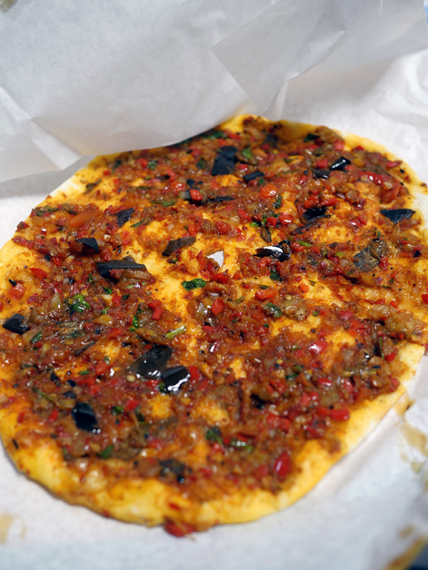 aubergine and feta lahmacun from pide oven