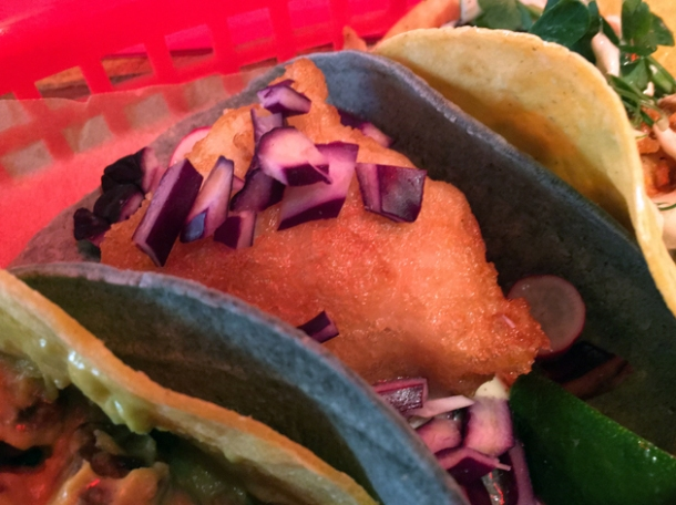 battered fish tacos at killer tomato