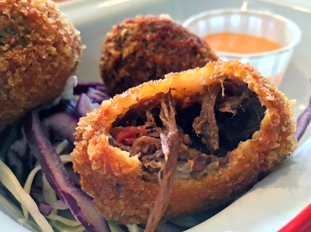 beef brisket croquettes at killer tomato