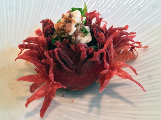 beetroot scallop puff