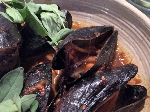 sour yellow curry of mussels at kiln