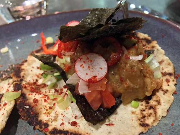 aubergine and chipotle miso tacos at temper