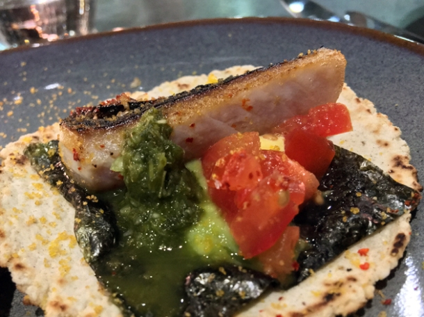 blowtorched mackerel tacos at temper
