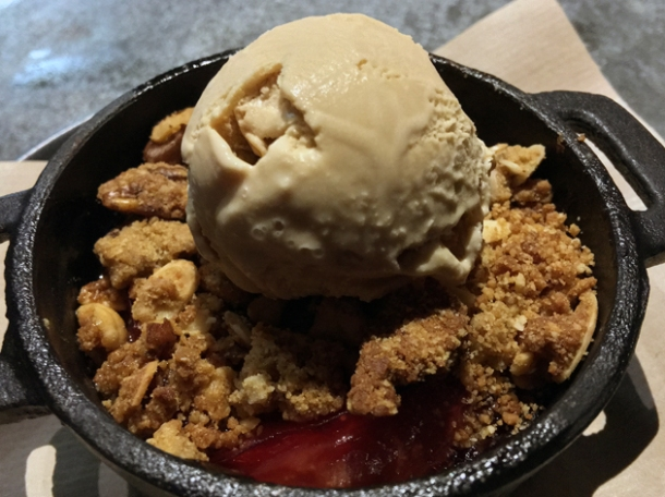 plum crumble with burnt butter ice cream at smokestak