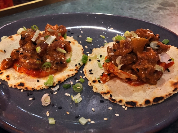 soy cured beef tacos at temper
