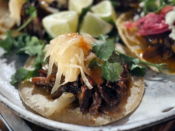 beef short rib tacos at breddos tacos