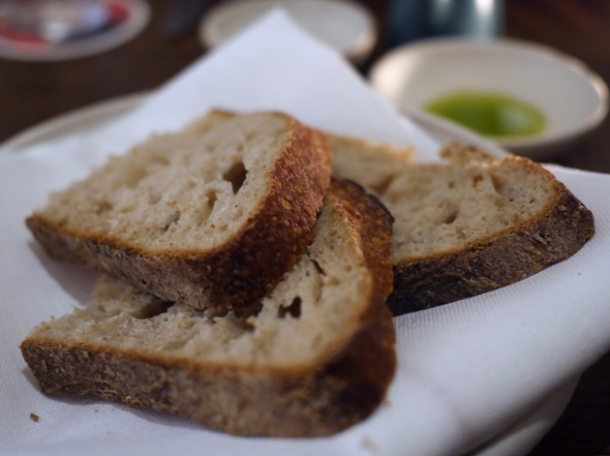 bread and olive oil at luca