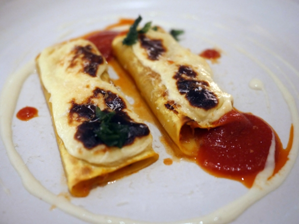 cannelloni filled with calves head ragu at luca