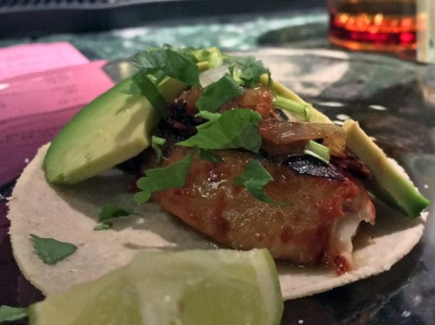 fish al pastor tacos at el pastor