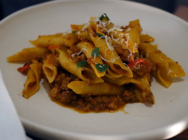 garganelli with pork sausage ragu at luca