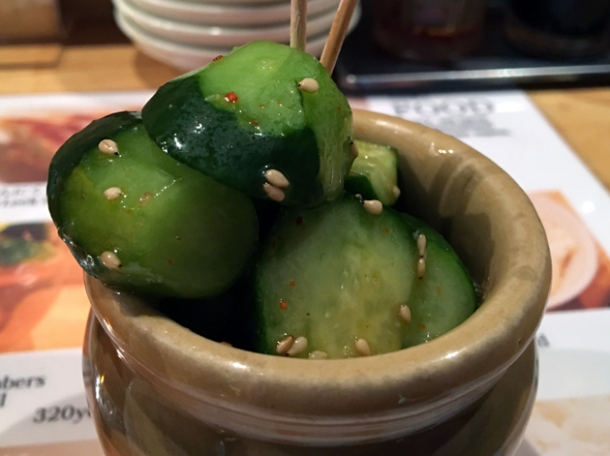 pickled cucumbers at hohei gyoza