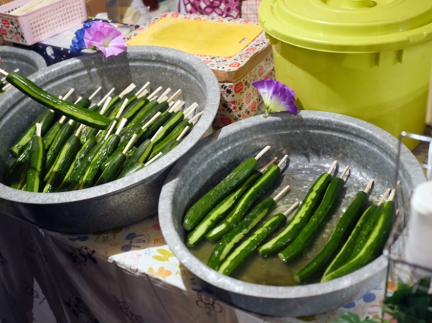 pickled cucumbers at kawagoe matsuri