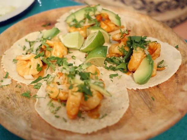 prawn tacos at el pastor