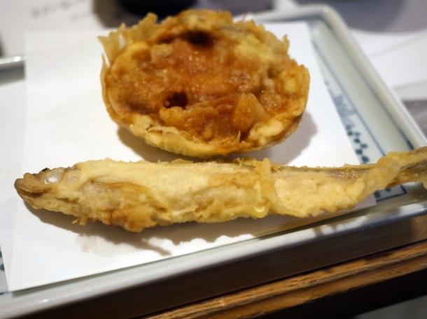 sardine tempura at tempura tsunahachi