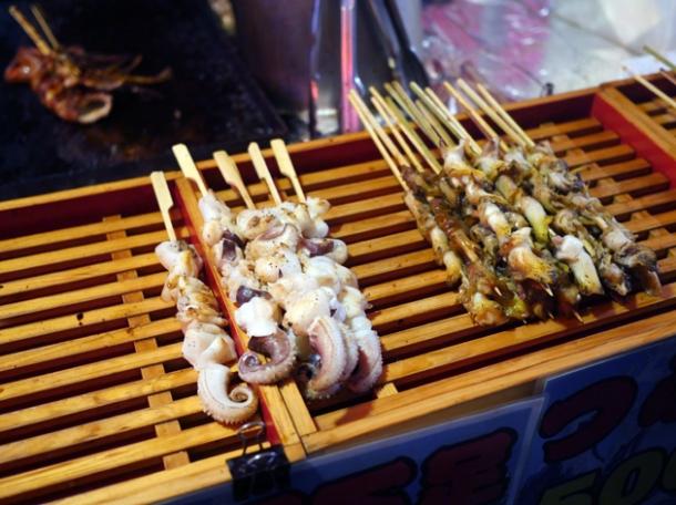 skewered seafood at kawagoe matsuri