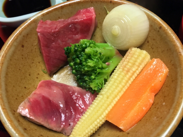 beef and vegetables at hotel nakanoshima wakayama