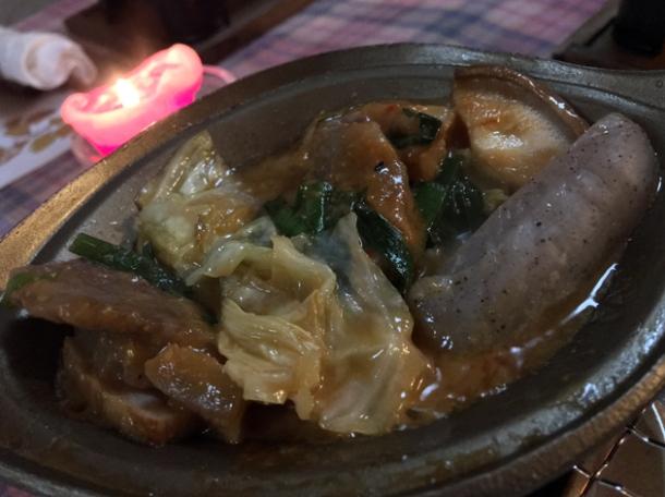 beef pork belly sausage and cabbage at minshuku tsugizakura