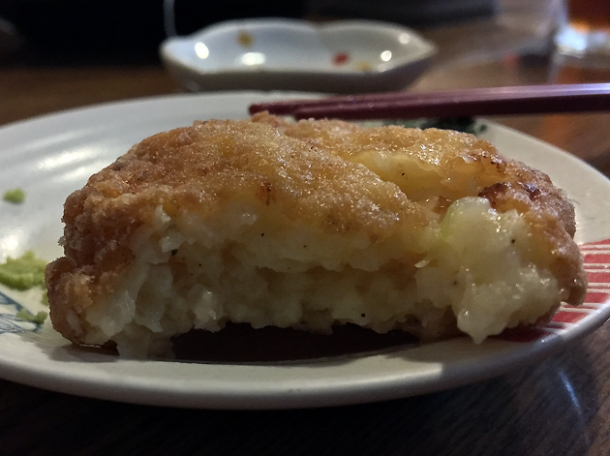 deep fried prawn cake at kanteki