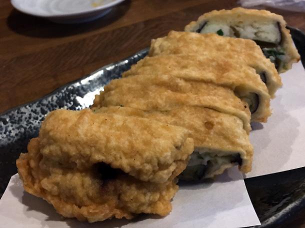 deep fried stuffed aubergine at kanteki